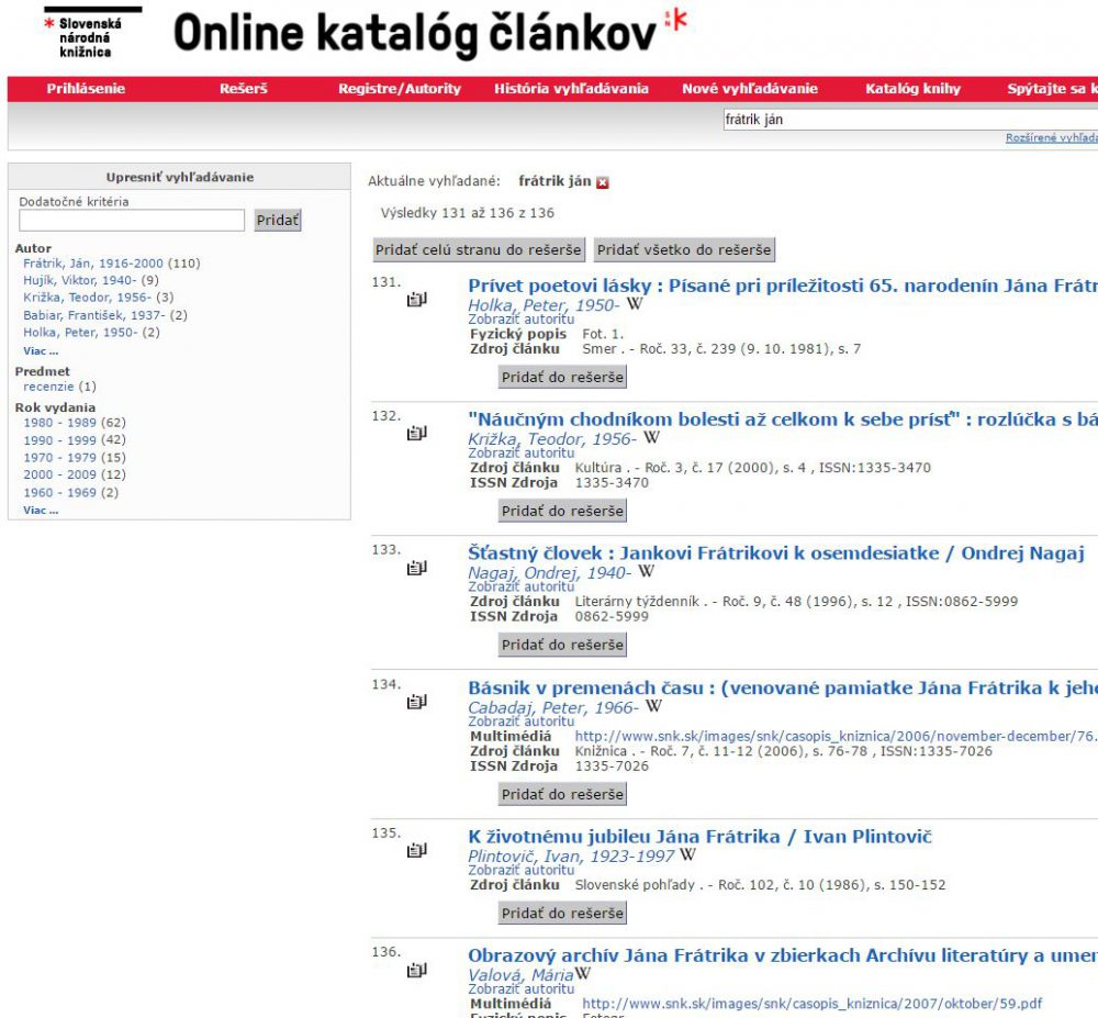 Slovenská národná knižnica Martin – články